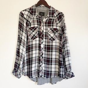 RAILS White Red Black Plaid Flannel Button Down M